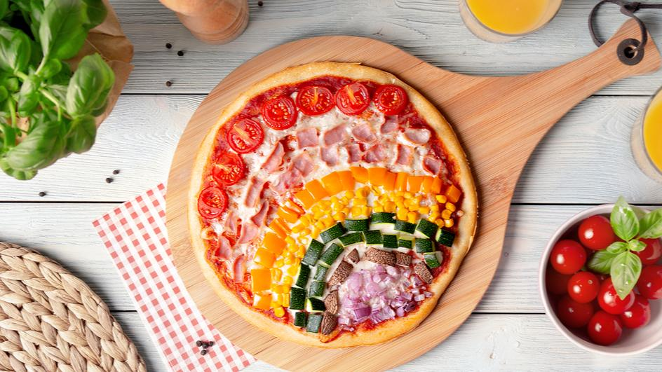 Regenbogen-Pizza