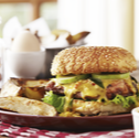 Hearty Salted Egg Chicken Burger