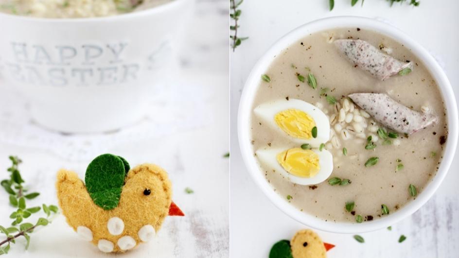 Żurek z kaszą pęczak, jajkiem i białą kiełbasą