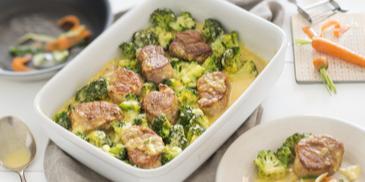 Brokkoli mit Schweinefilet und Sauce Hollandaise
