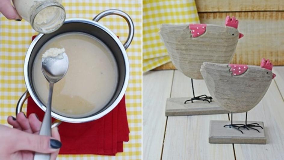 Zupa chrzanowa z chipsami z salami
