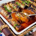 Патладжанени рулца на фурна, пълнени с кайма в сос Болонезе