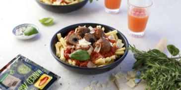 Veiselihapallid oliivide ja tomatikastmega