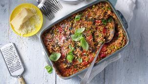 Tomaatrisotto uit de oven met cherrytomaten en spinazie