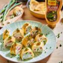Roladki z omletu z twarożkiem i warzywami