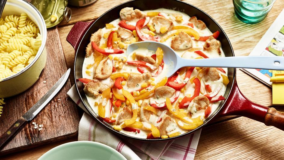 Paprika-Puten-Pasta