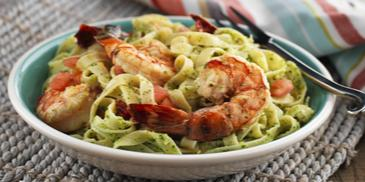 Linguini with Prawns and Almond Pesto