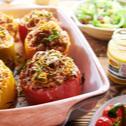 Papriky plněné kroupami a zeleninou