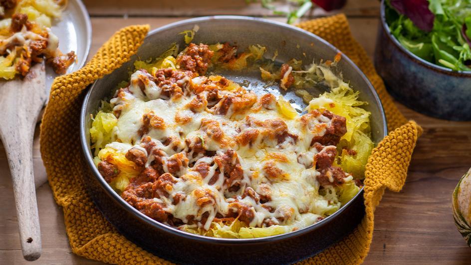 Low Carb Spaghetti-Kürbis Gratin