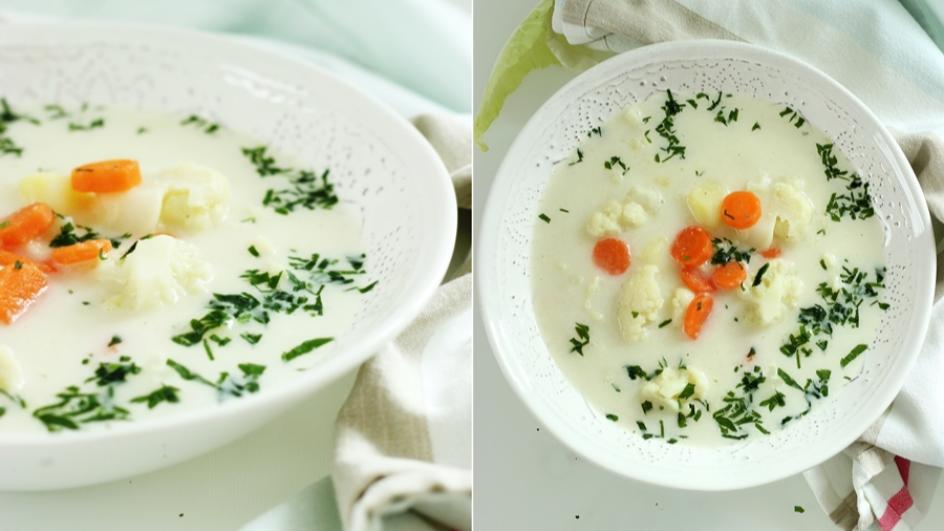 Tradycyjna zupa kalafiorowa z ziemniakami