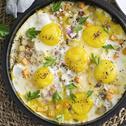 البيض المقلي مع الجزر والبطاطا