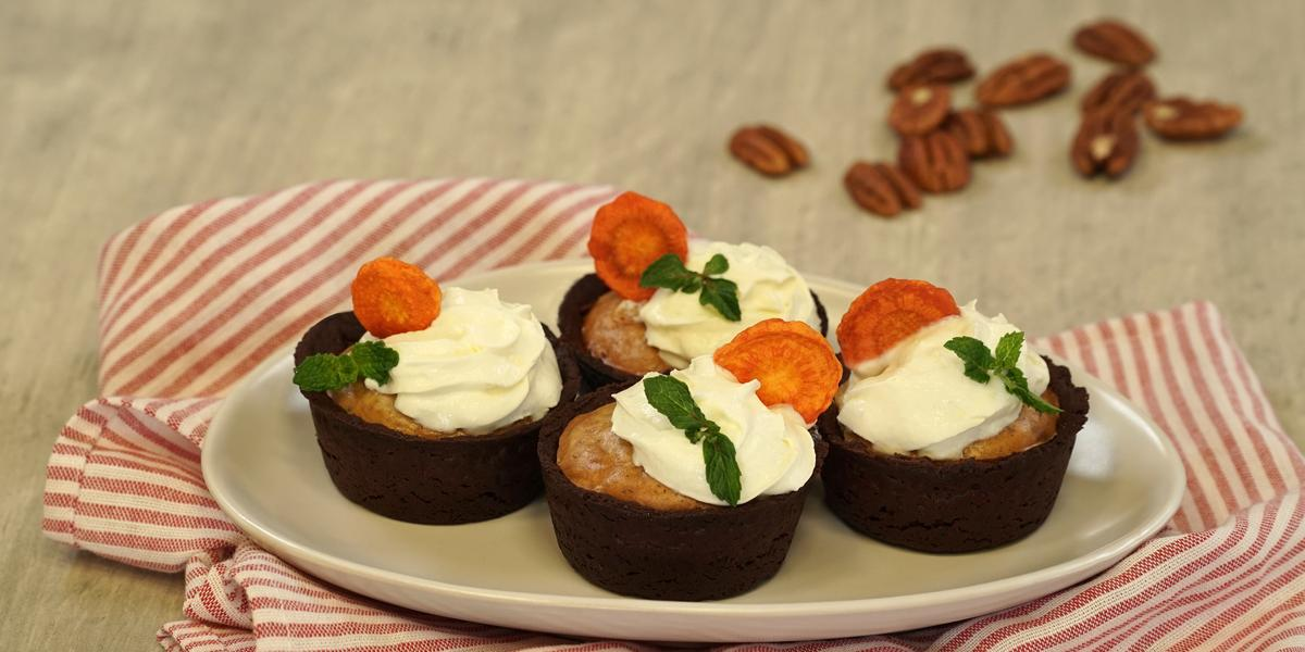 Cupcakes de zanahoria con galleta de chocolate