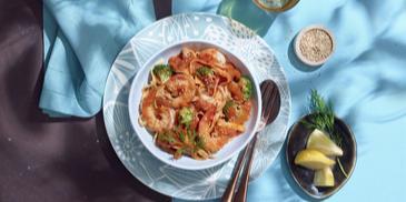 Tagliatelle met Harissapasta, Garnalen en Broccoli