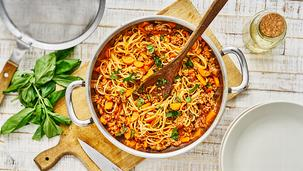 Spaghetti mit Hackfleisch-Möhrensauce
