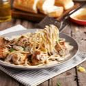 Creamy Mushroom Pasta with Chicken Meatballs