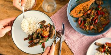 Gemüse-Champignon-Pfanne mit Filetstreifen