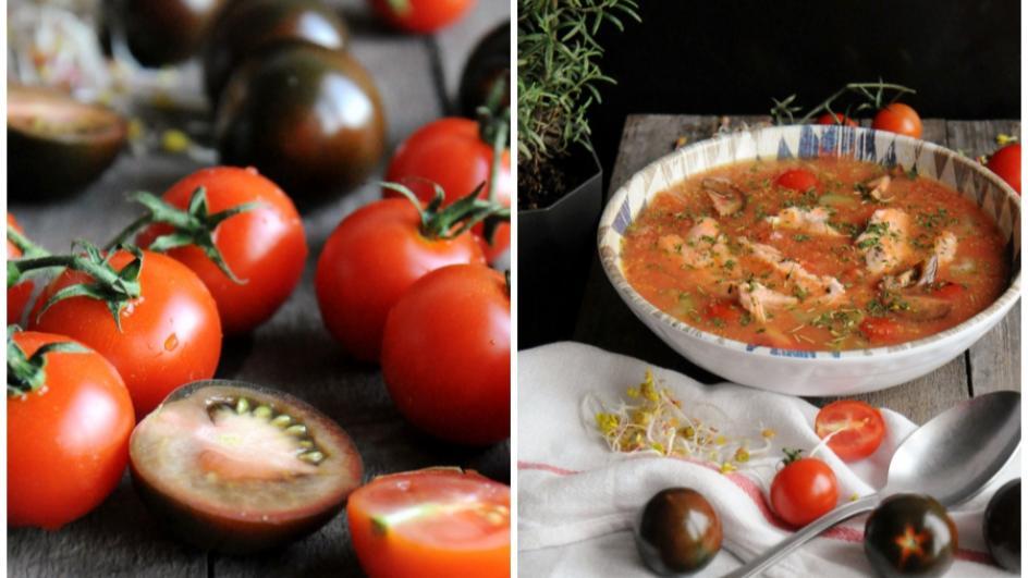 Zupa z łososia z pomidorami