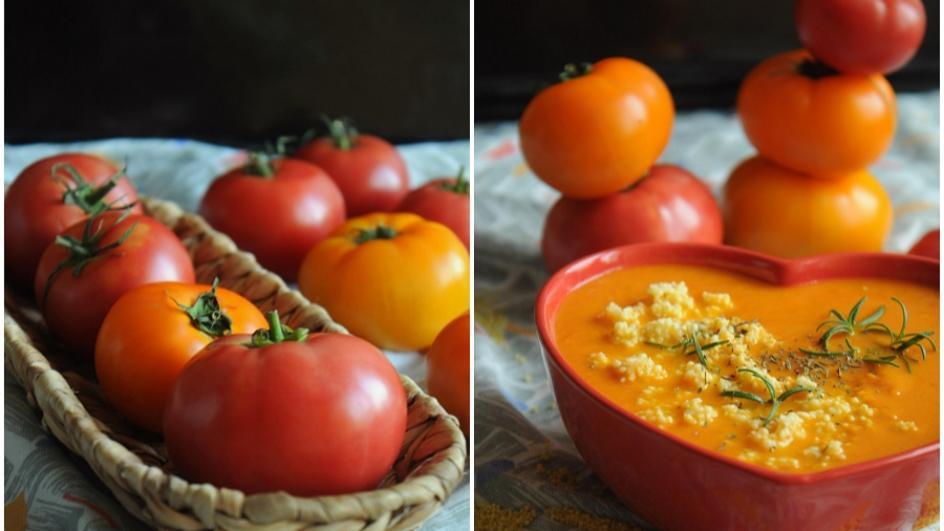 Zupa krem ze świeżych pomidorów z kaszą jaglaną