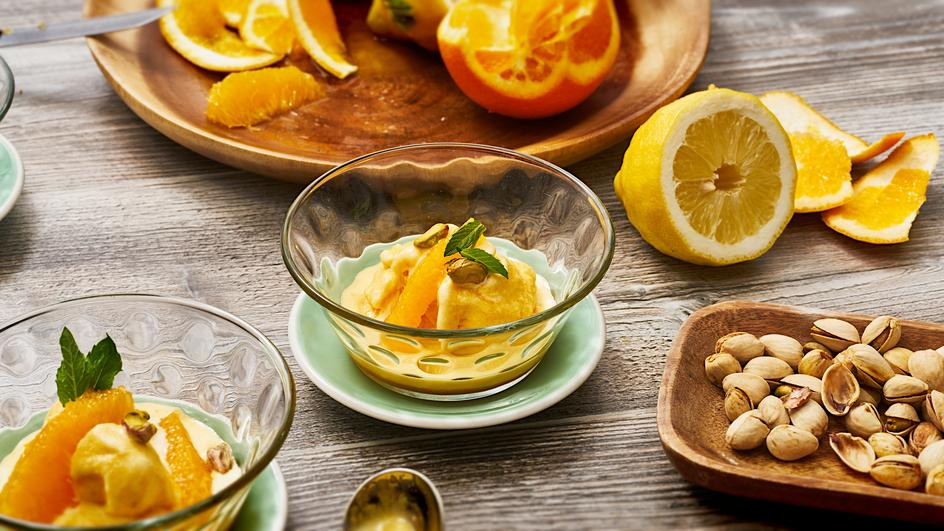 Orangen-Sorbet mit Safran