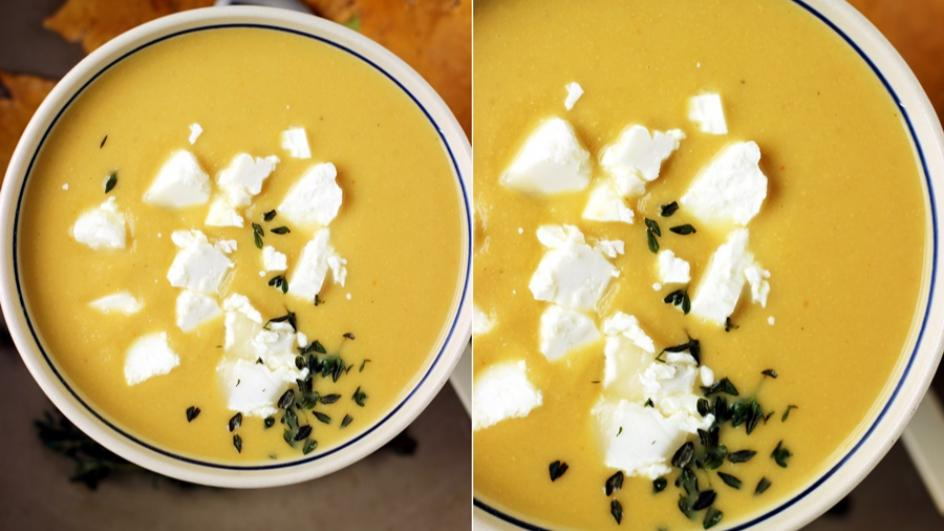 Zupa krem z cieciorki z serem kozim