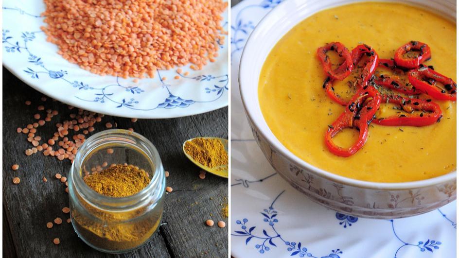 Zupa krem z czerwonej soczewicy z curry