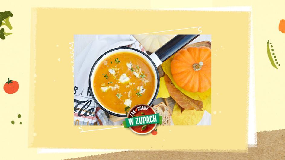 Zupa z dyni z przecierem pomidorowym i serem z niebieską pleśnią