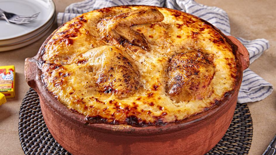 Creamy rice & chicken bake