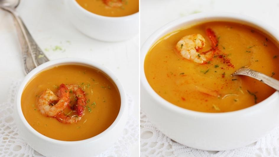 Sylwestrowa zupa krem z batatów z krewetkami i limonką