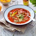 Zupa pomidorowa z nutą pomarańczową i pesto
