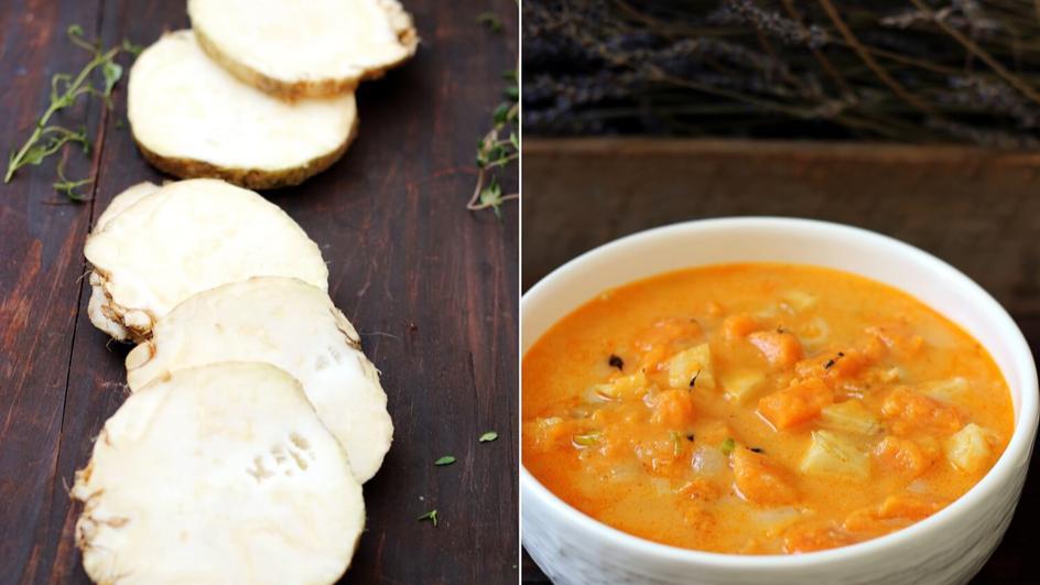 Chowder z batatów i pieczonego selera