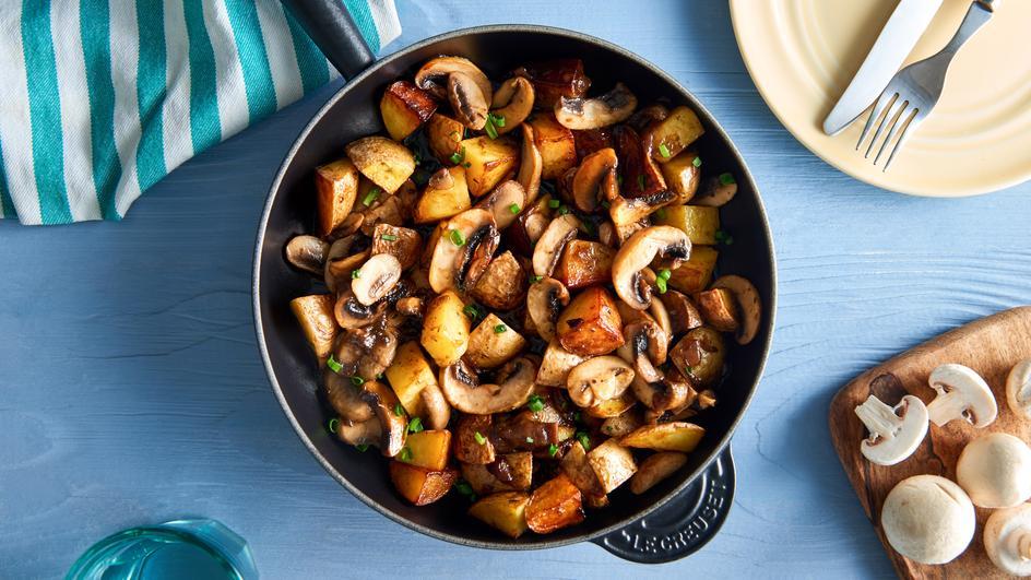 Schnelle Kartoffel-Champignon-Pfanne