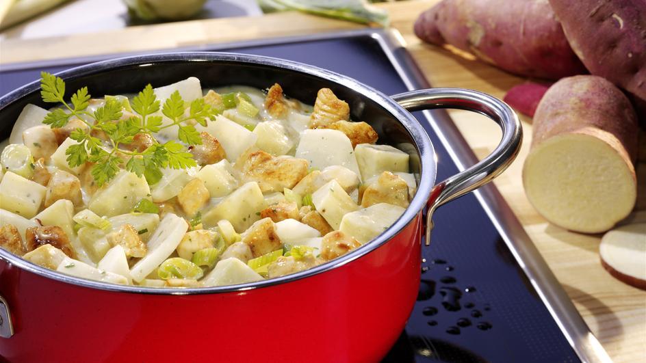 Süßkartoffel-Kohlrabi-Ragout mit Hähnchenbrust