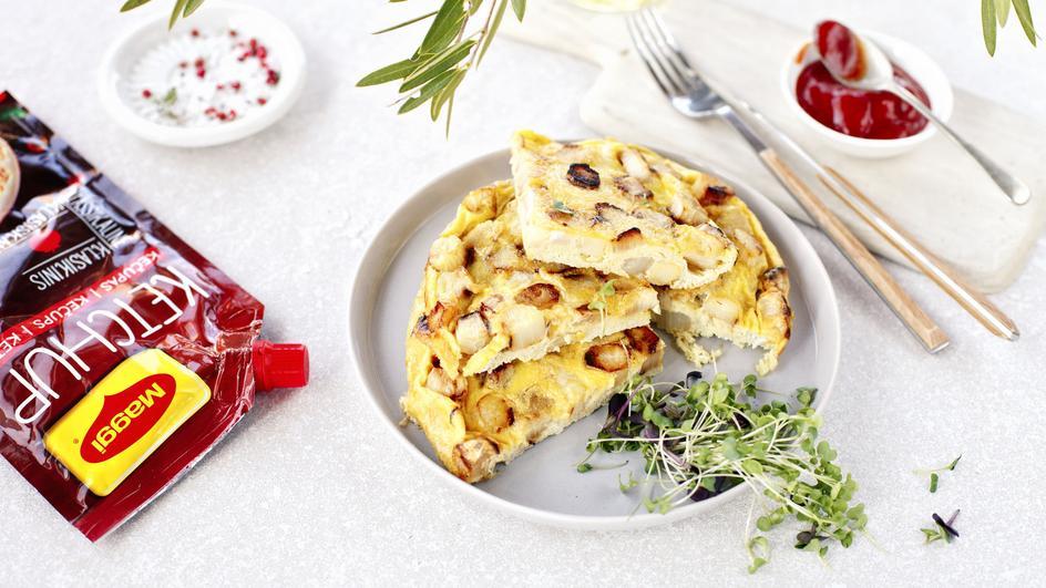 Omletas su baltaisiais šparagais