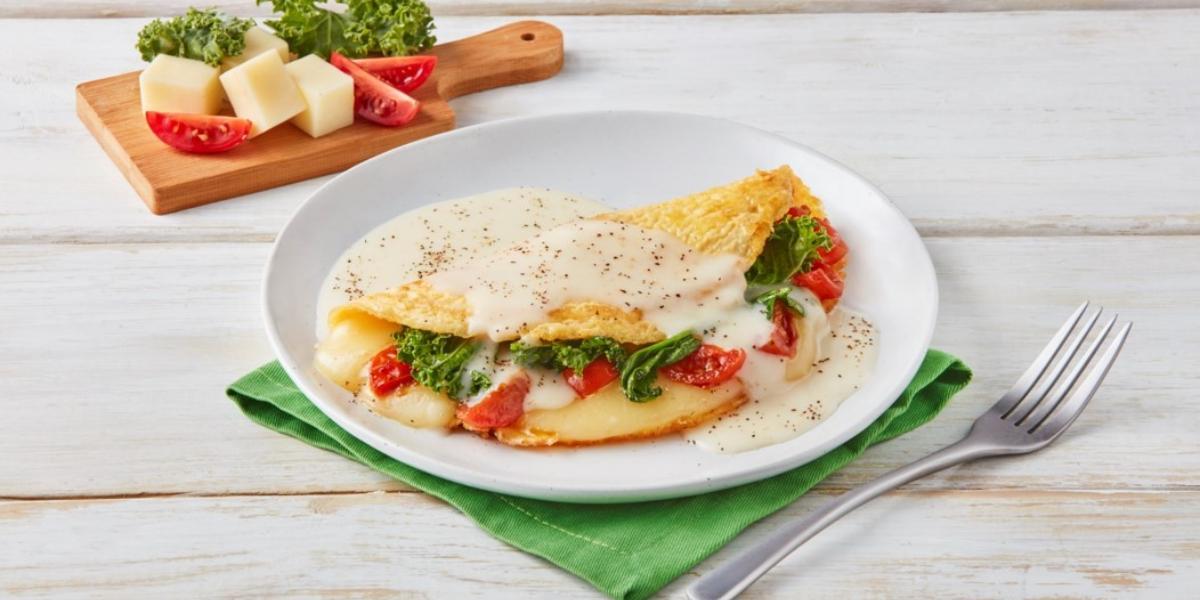 Omelette con espinaca y kale