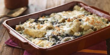 Baked Rigatoni with Spinach & Mushrooms