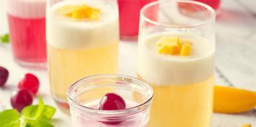 Galaretki z owocami i pianką- mango i wiśniowa