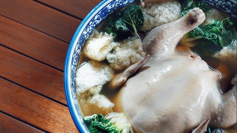 Sup Ayam Dan Ikan Maw Kukus Dengan Cendawan Shiitake