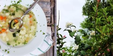 Zupa jarzynowa z młodych warzyw z kalafiorem, fasolką i cukinią