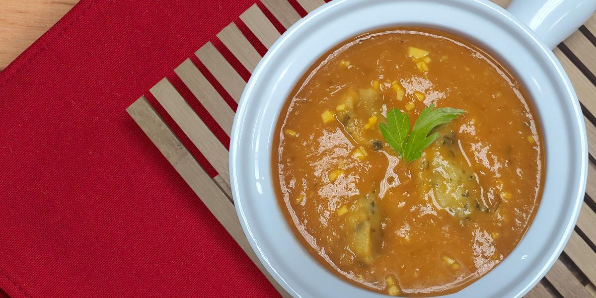 Roasted Tomato Soup with Chadon Beni Dumlings