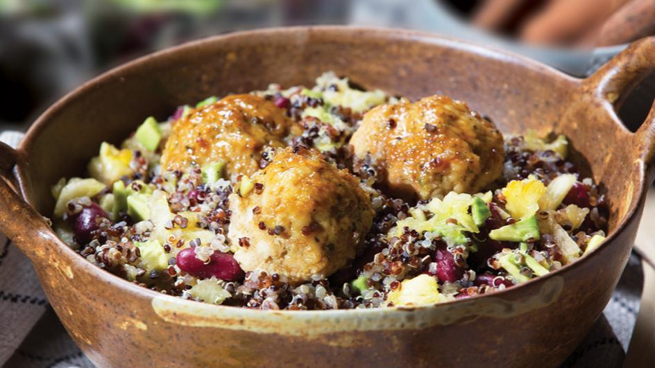 Juicy Chicken Meatballs and Tropical Quinoa Salad
