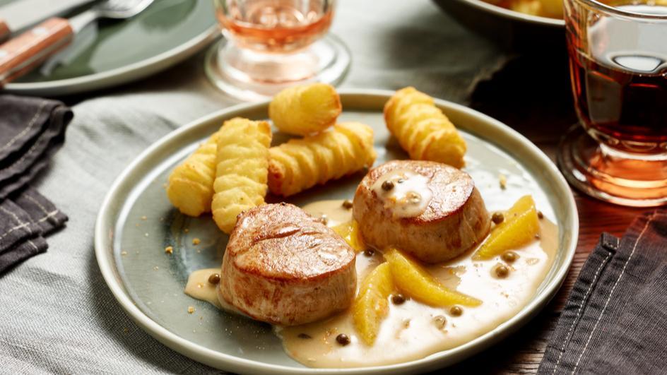 Schweinemedaillons mit Orangen-Pfeffer-Sauce