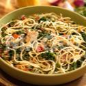 Spaghetti sautés aux epinards