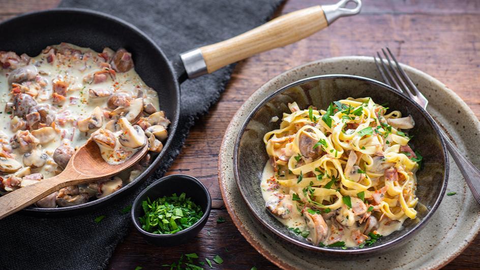 Tagliatelle mit Pilz-Sahne-Sauce