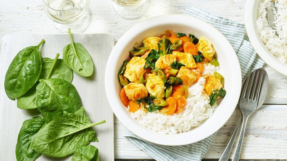 Fisch Curry mit Blattspinat