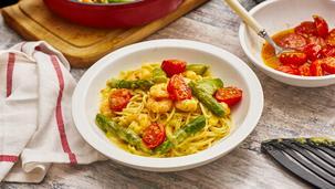 Spaghetti mit Spargel-Garnelen-Hollandaise