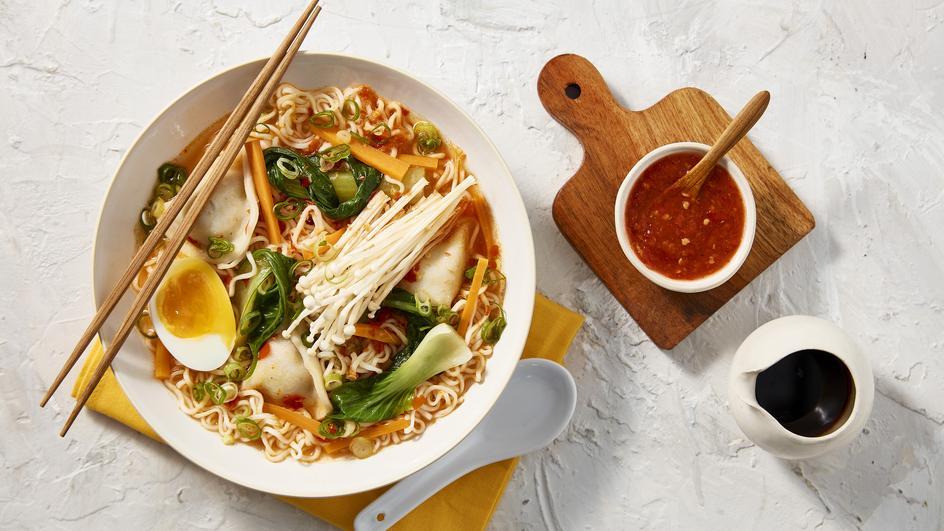 Spicy Chicken Dumpling Noodle Soup