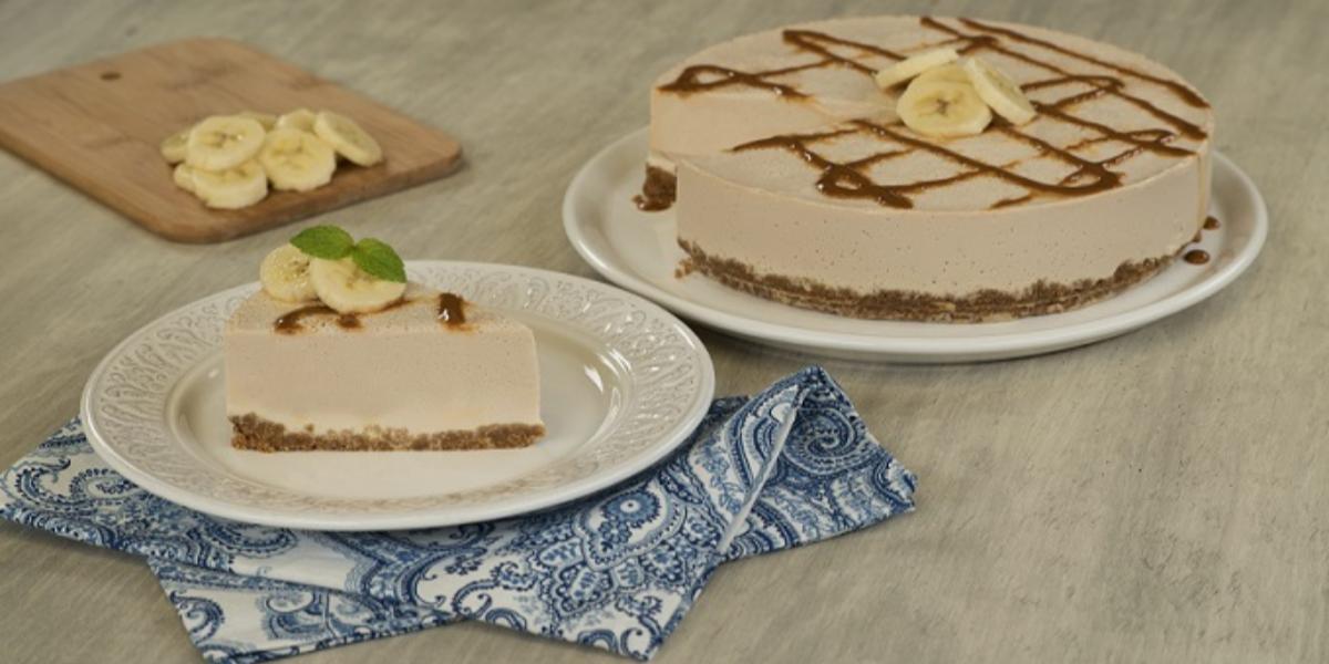 Cheesecake de plátano con dulce de leche