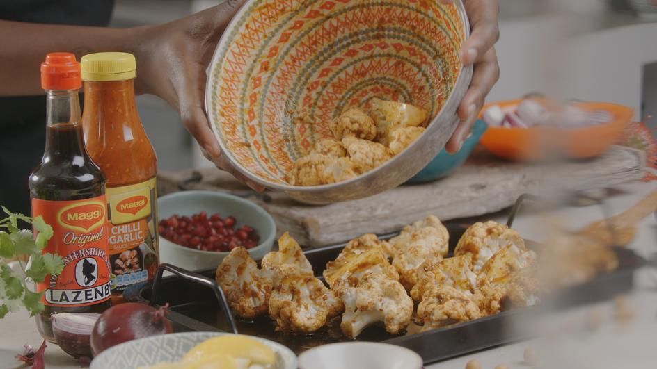 Vegan Indian-inspired Cauliflower Tray Bake