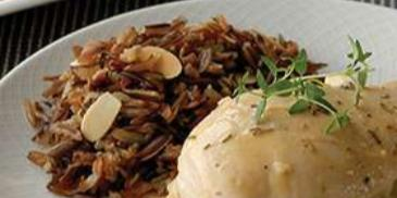 Roasted Chicken with Mushroom Ragout and Almonds Wild Rice