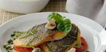 Sea Bass with Crispy Skin in Basil sauce